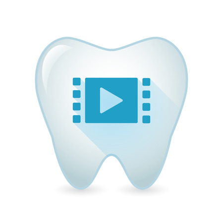 mouth screen: Illustration of an isolated tooth icon with a multimedia sign