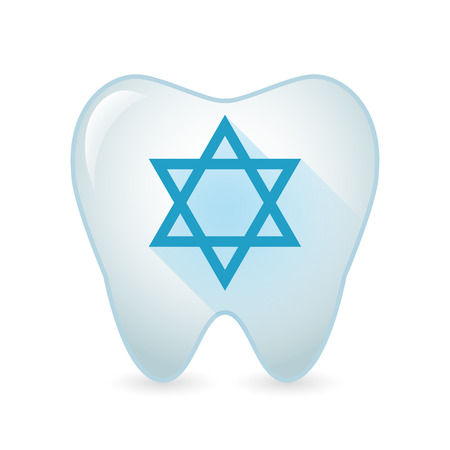 jews: Illustration of an isolated tooth icon with a David star sign
