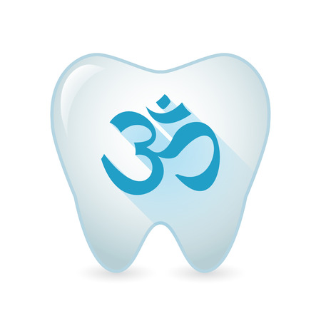 zen aum: Illustration of an isolated tooth icon with an om sign