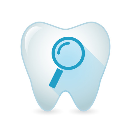focus on shadow: Illustration of an isolated tooth icon with a magnifier