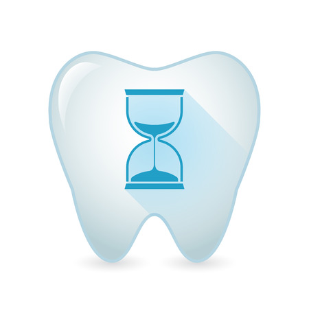 Illustration of an isolated tooth icon with a sand clock