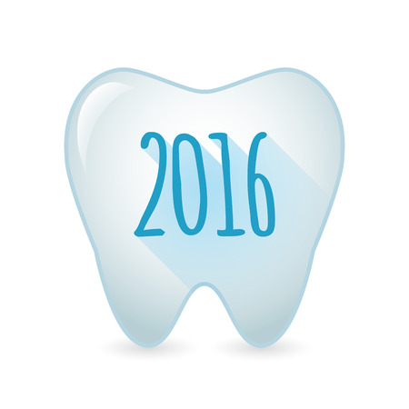 teeth: Illustration of an isolated tooth icon with a 2016 sign