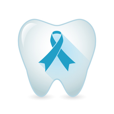 social awareness symbol: Illustration of an isolated tooth icon with an awareness ribbon Illustration