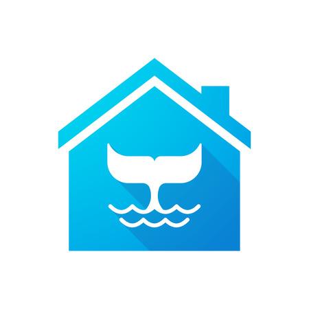 the tail: Ilustraci�n de un icono de la casa azul con una cola de ballena