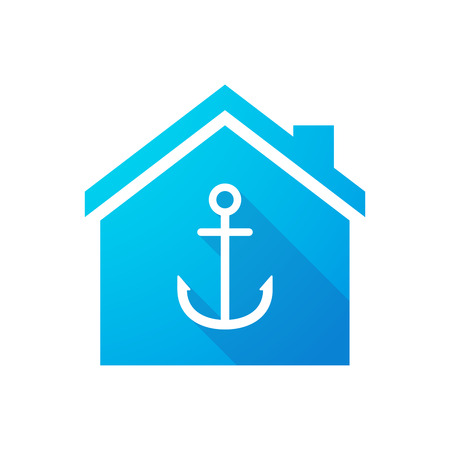 nautic: Illustration of a blue house icon with an anchor