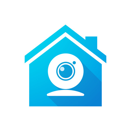 Illustration of a blue house icon with a web cam Illustration