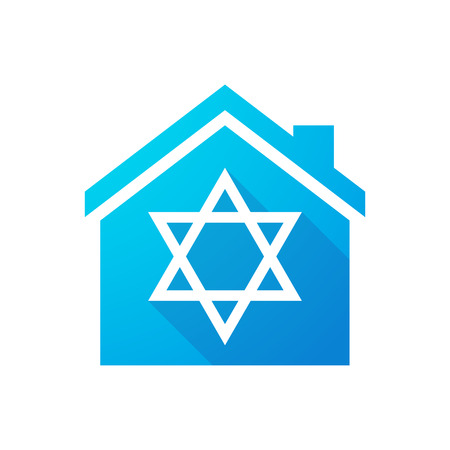 jewish houses: Illustration of a blue house icon with a David star