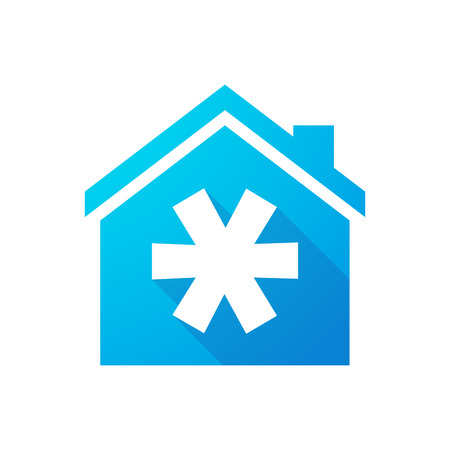 asterisk: Illustration of a blue house icon with an asterisk