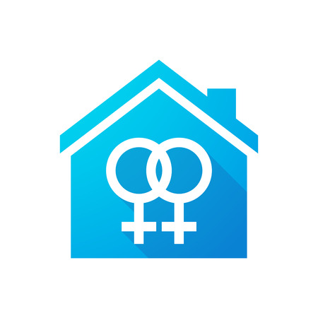 homosexuality: Illustration of a blue house icon with a gay sign