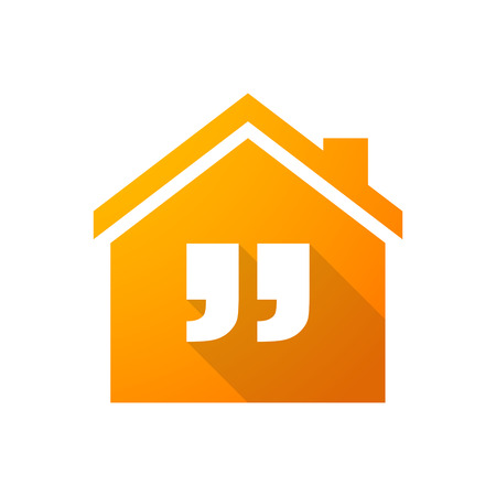 inverted: Illustration of an orange house icon with quotes
