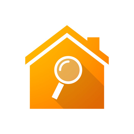 house shape: Illustration of an orange house icon with a magnifier Illustration