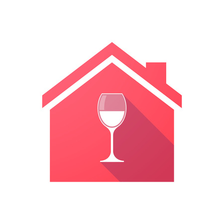 window bars: Illustration of a red house icon with a glass Illustration