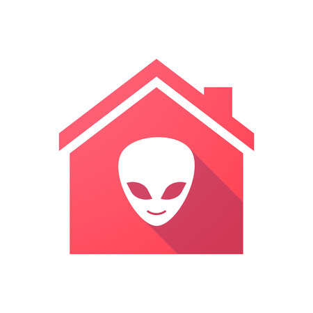 alien face: Illustration of a red house icon with an alien face