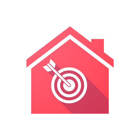 bullseye: Illustration of a red house icon with a dart board