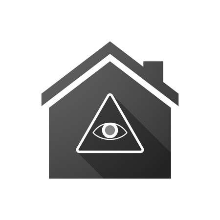 illuminati: Illustration of a black house icon with an all seeing eye Illustration