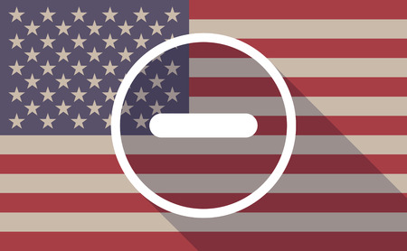 Illustration of an USA flag icon with a subtraction sign