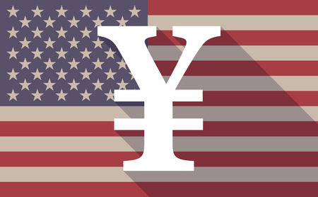 yen sign: Illustration of an USA flag icon with a yen sign