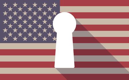 key hole: Illustration of an USA flag icon with a key hole