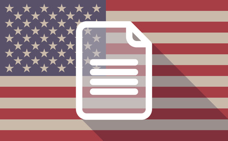 page long: Illustration of an USA flag icon with a document Illustration