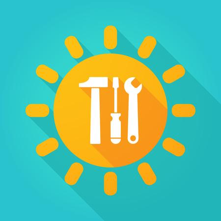 llave de sol: Ilustración de un icono de sol con un conjunto de herramientas