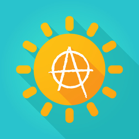 anarchy: Illustration of a sun icon with an anarchy sign Illustration