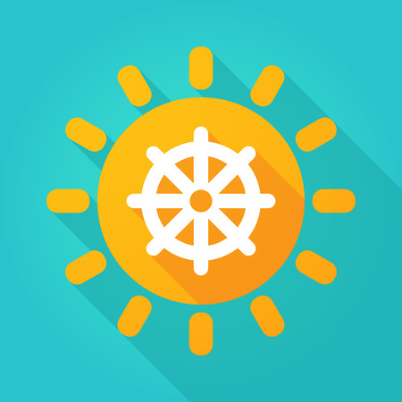 dharma: Illustration of a sun icon with a dharma chakra sign