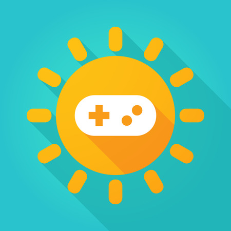 game pad: Illustration of a sun icon with a game pad Illustration