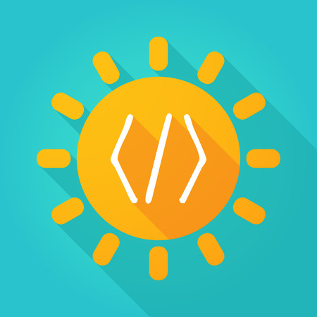 warm things: Illustration of a sun icon with a code sign