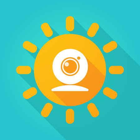 Illustration of a sun icon with a webcam