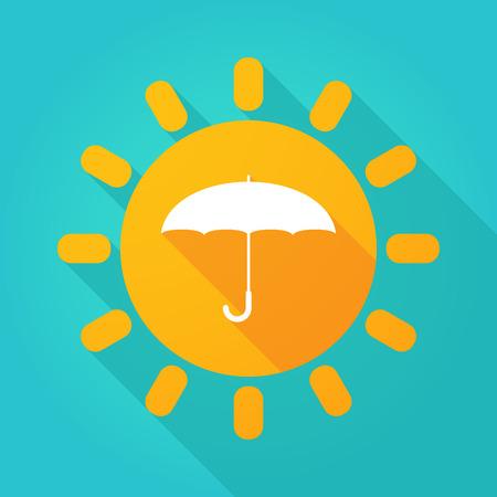 sun umbrella: Illustration of a sun icon with a an umbrella Illustration