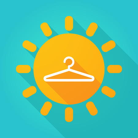 spring coat: Illustration of a sun icon with a hanger