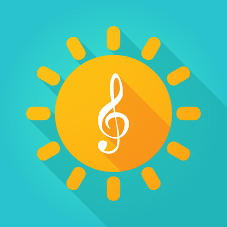 treble g clef: Illustration of a sun icon with a g clef Illustration