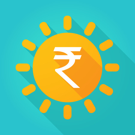 money background: Illustration of a sun icon with a rupee sign