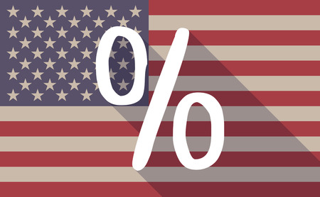 percentage sign: Illustration of an USA flag icon with a percentage sign