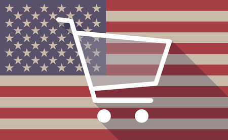 usa flag: Illustration of an USA flag icon with a shopping cart