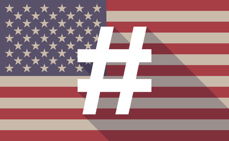 hash: Illustration of an USA flag icon with a hash tag Illustration