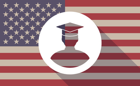 Illustration of an USA flag icon with a student avatar Illustration