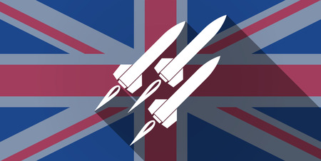 missiles: Illustration of an UK flag icon with missiles Illustration