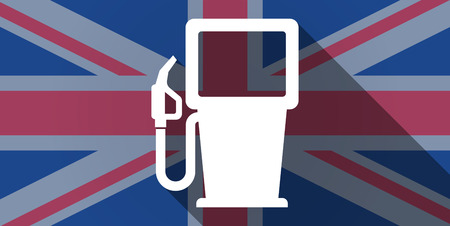 Illustration of an UK flag icon with a gas station Vector