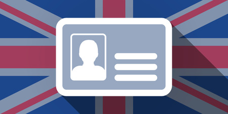 Illustration of an UK flag icon with an id card Vector