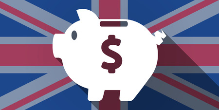 Illustration of an UK flag icon with a piggy bank Vector