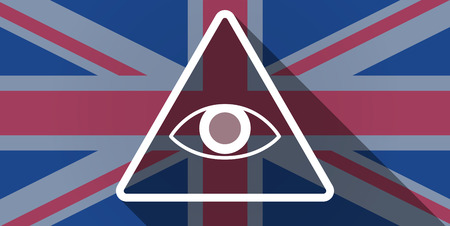 kingdom of god: Illustration of an UK flag icon with an all seeing eye