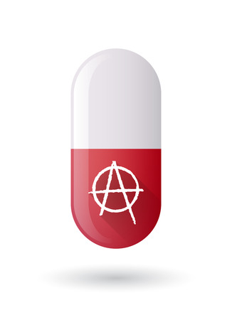 anarchy: Illustration of a red pill icon with an anarchy sign