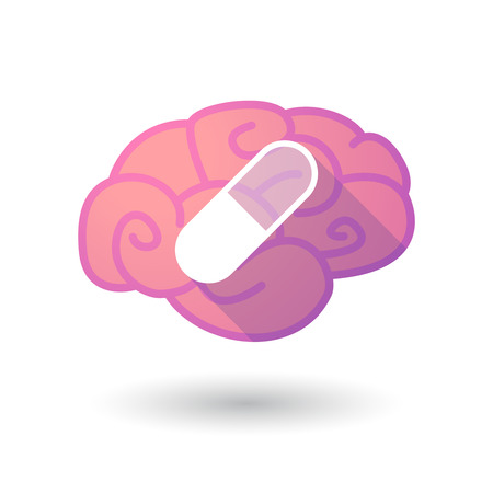 antibiotic pink pill: Illustration of a pink brain with a pill