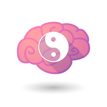 tao: Illustration of a pink brain with a ying yang Illustration