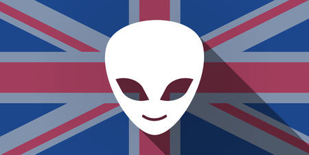 alien face: Illustration of an UK flag icon with an alien face