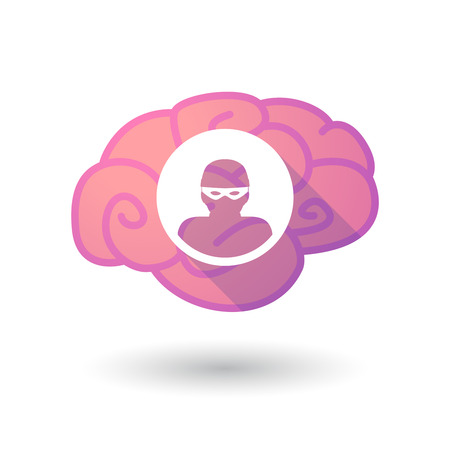 steal brain: Illustration of a pink brain with a thief