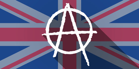 anarchy: Illustration of an UK flag icon with an anarchy sign Illustration