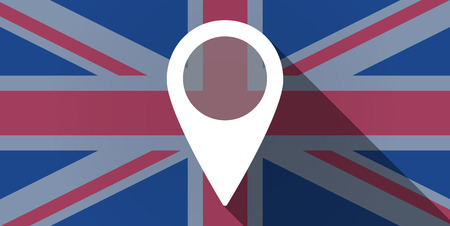Illustration of an UK flag icon with a map mark Vector
