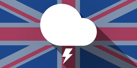 stormy: Illustration of an UK flag icon with a stormy cloud